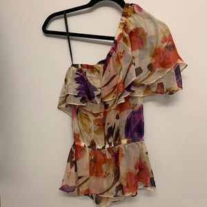 WATERCOLOR PRINTED SILK ASYMMETRICAL RUFFLE TOP